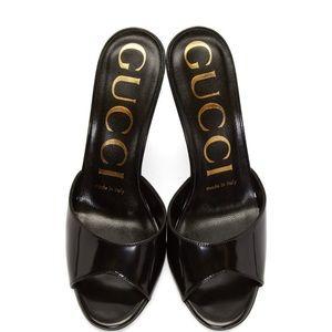 GUCCI Black Slide Heeled Sandals